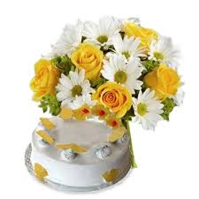 1.5 kg butterscotch cake with 20 flowers basket