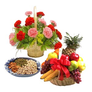 1/2 kg Dry fruits 12 flowers basket with fresh fruits 3 kg
