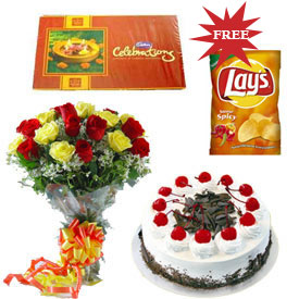 1 kg Cake 1box chocolates 12 flowers with lays