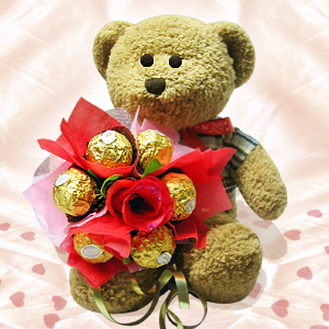 16 Chocolates bouquet with teddy