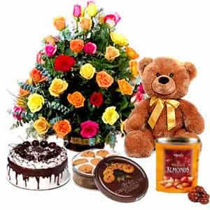 Basket 24 mix roses, 1/2 kg cake, teddy, cookies, chocolates