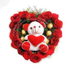 24 Mix flowers basket + teddy.