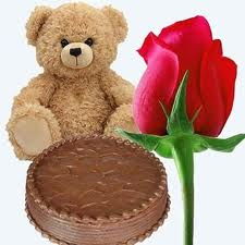 Teddy with cake and single rose