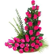 66 Pink roses in a basket
