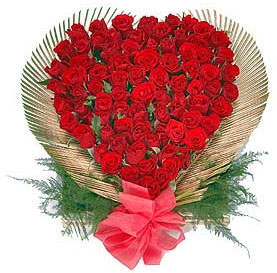 24 Red roses heart