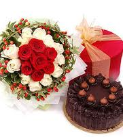 24 red and white roses bouquet, 1/2 kg chocolate cake