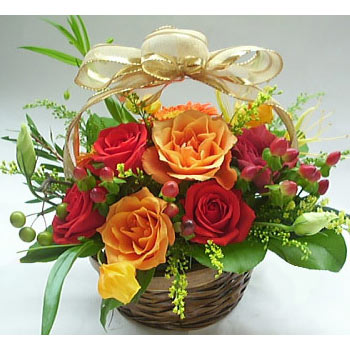 12 mix roses basket