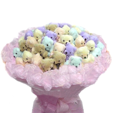 10 teddies mix color bouquet